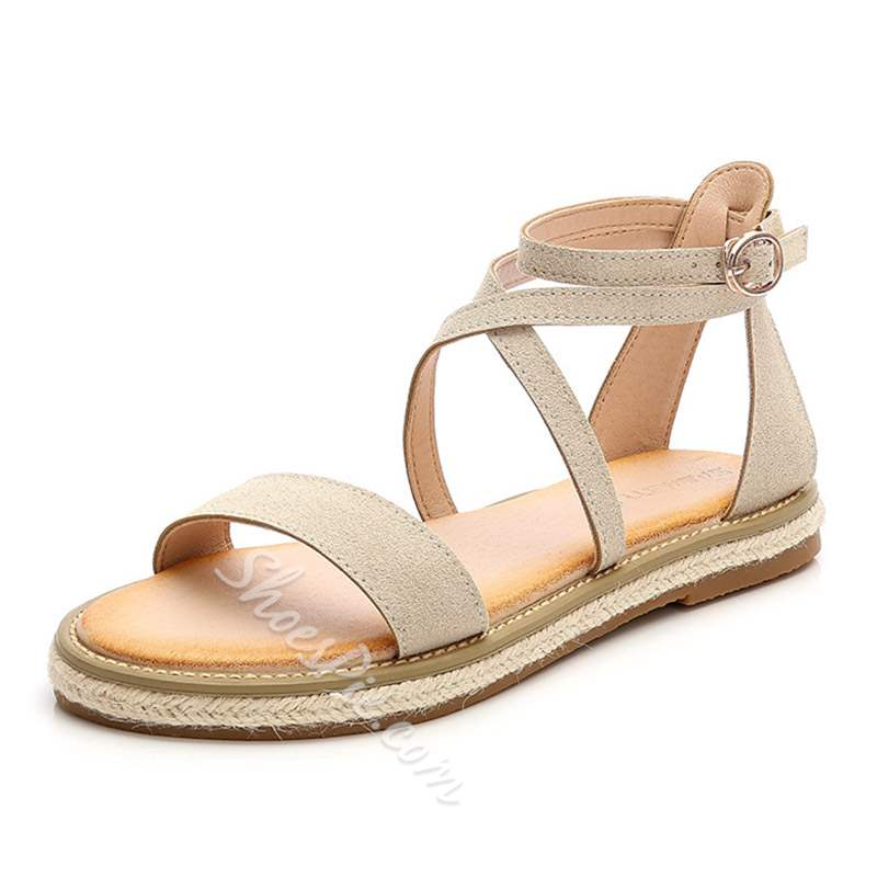 Shoespie Trendy Open Toe Ankle Strap Buckle Flat Sandals