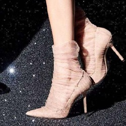 Shoespie Lace Pointed Toe Stiletto Heels