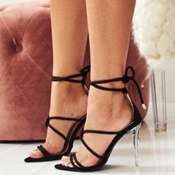 Shoespie Lace-Up Stiletto Heel Strappy Black Sandals
