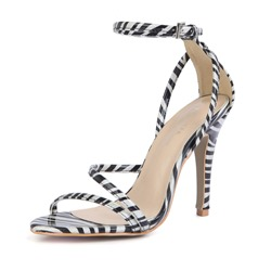 Shoespie Sexy Black Line-Style Buckle Heel Covering Open Toe Sandals