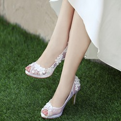 Shoespie White Stylish Peep Toe Stiletto Heel Slip-On Bridal Shoes