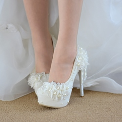 Shoespie Trendy Round Toe Stiletto Heel Beads Wedding Bridal Shoes