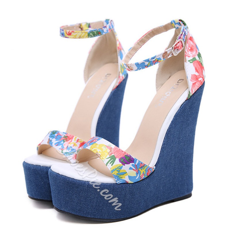 Shoespie Platform Flower Print Buckle Wedge Heel Sandals