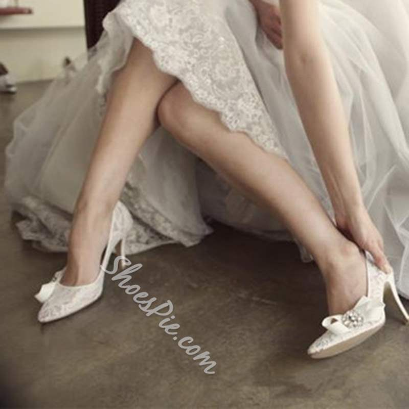 Shoespie White Pointed Toe Stiletto Heel Bow Low-Cut Wedding Bridal Shoes