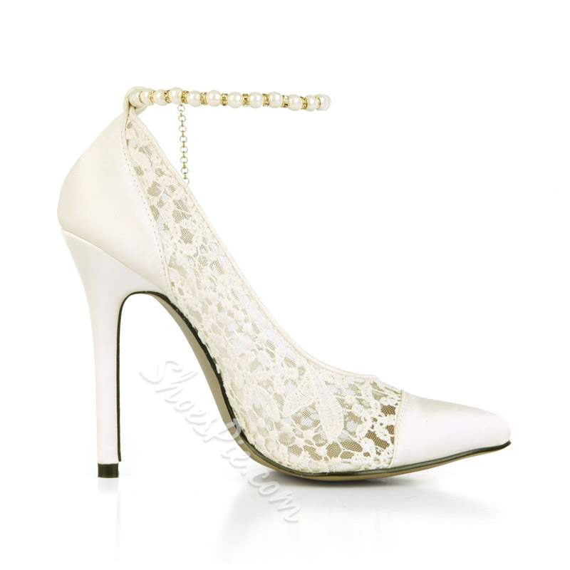 Shoespie Stiletto Heel Pointed Toe Line-Style Buckle Banquet Bridal Shoes