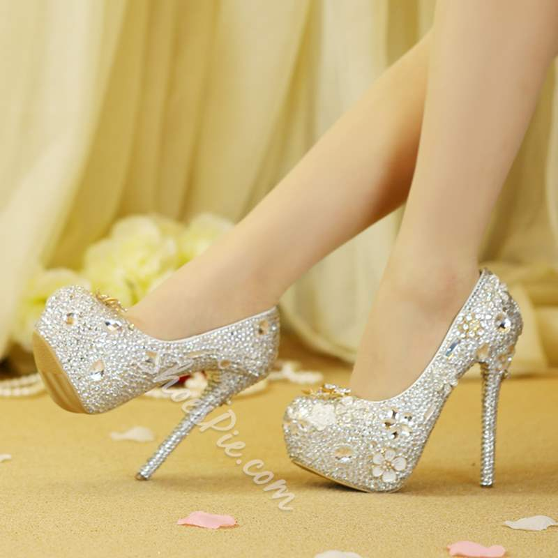 Shoespie Sexy Platform Slip-On Stiletto Heel Wedding Bridal Shoes
