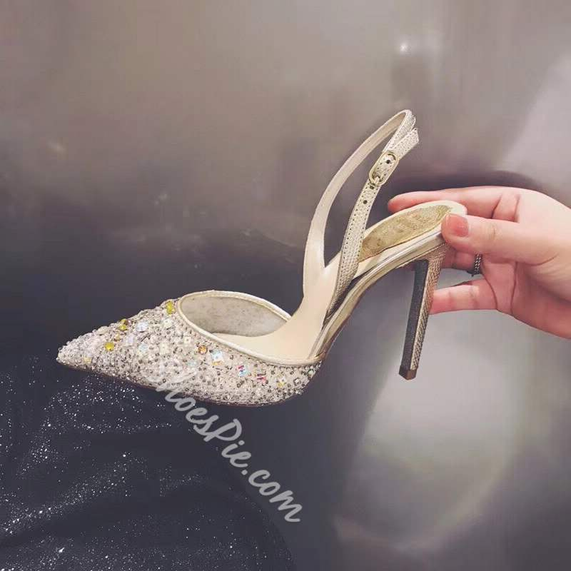 Buckle Pointed Toe Slingback Strap Rhinestone Wedding Bridal Shoes