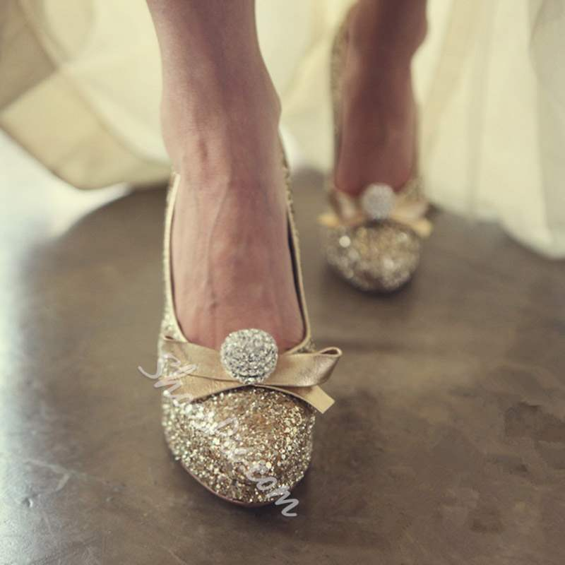 Shoespie Sexy Golden Bow Round Toe Slip-On Bridal Shoes