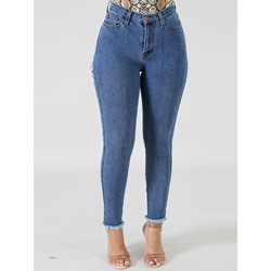 Hole Pencil Pants Mid-Waist Women's Jeans