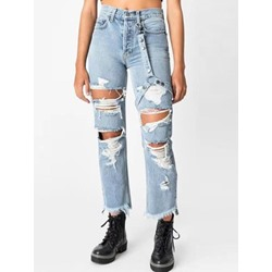 Hole Plain Straight Button Women's Jeans