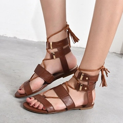 shoespie Tassel Strappy Lace Up Sandals