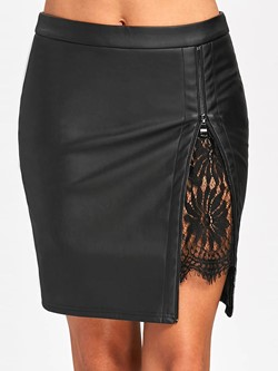 Bodycon Mini Skirt Color Block Sexy Women's Skirt