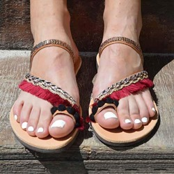 Shoespie Trendy Flat With Fringe Toe Ring Summer Slippers