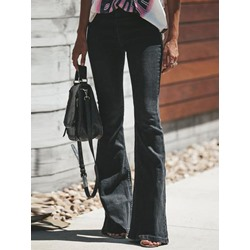 Washable Plain Bellbottoms Mid-Waist Women's Jeans