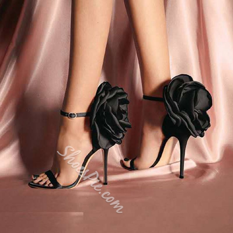 Shoespie Black Stiletto Heel Buckle Open Toe Floral Sandals