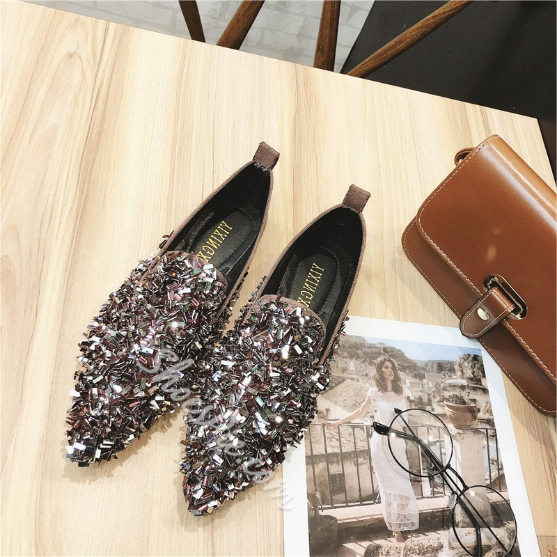 Shoespie Stylish Pointed Toe Sequin Slip-On Low Heel Loafers