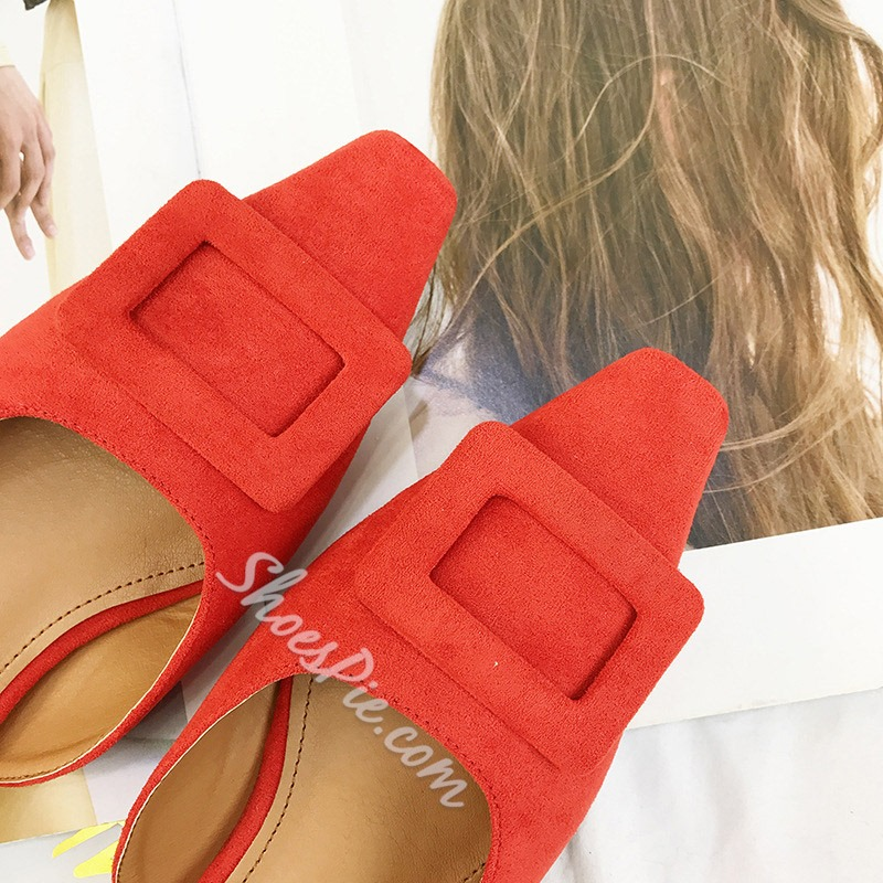 Shoespie Buckle Backless Flat Slippers