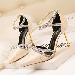 Shoespie Stylish Pointed Toe Buckle Sequin Stiletto Heels