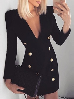Above Knee Long Sleeve Button Fashion Women's Bodycon Dress