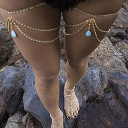 Gemstone Pendant Bohemian Leg Chain ( One Piece )