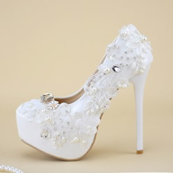 White Platform Beads Slip-On Round Toe Wedding Bridal Shoes