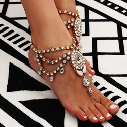 Shiny Full Drill Ethnic Alloy Anklet ( One Piece )