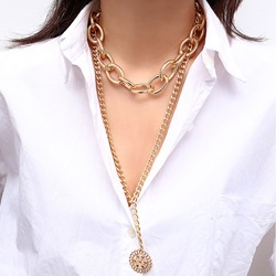 Punk Style Multi-Layer Golden Pendant Necklace