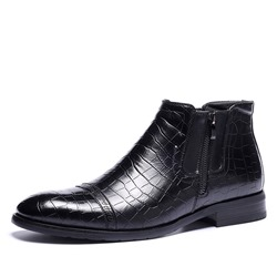 Shoespie Flat Side Zipper Pointed Toe PU Men's Ankle Boots