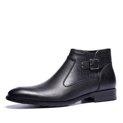 Shoespie Flat Plain Side Zipper PU Buckle Men's Ankle Boots