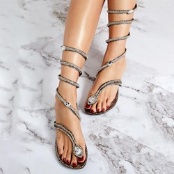 Shoespie Serpentine Rhinestone Wrap Up Flat Sandals