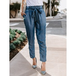 Harem Pants Lace-Up Plain High-Waist Women's Jeans