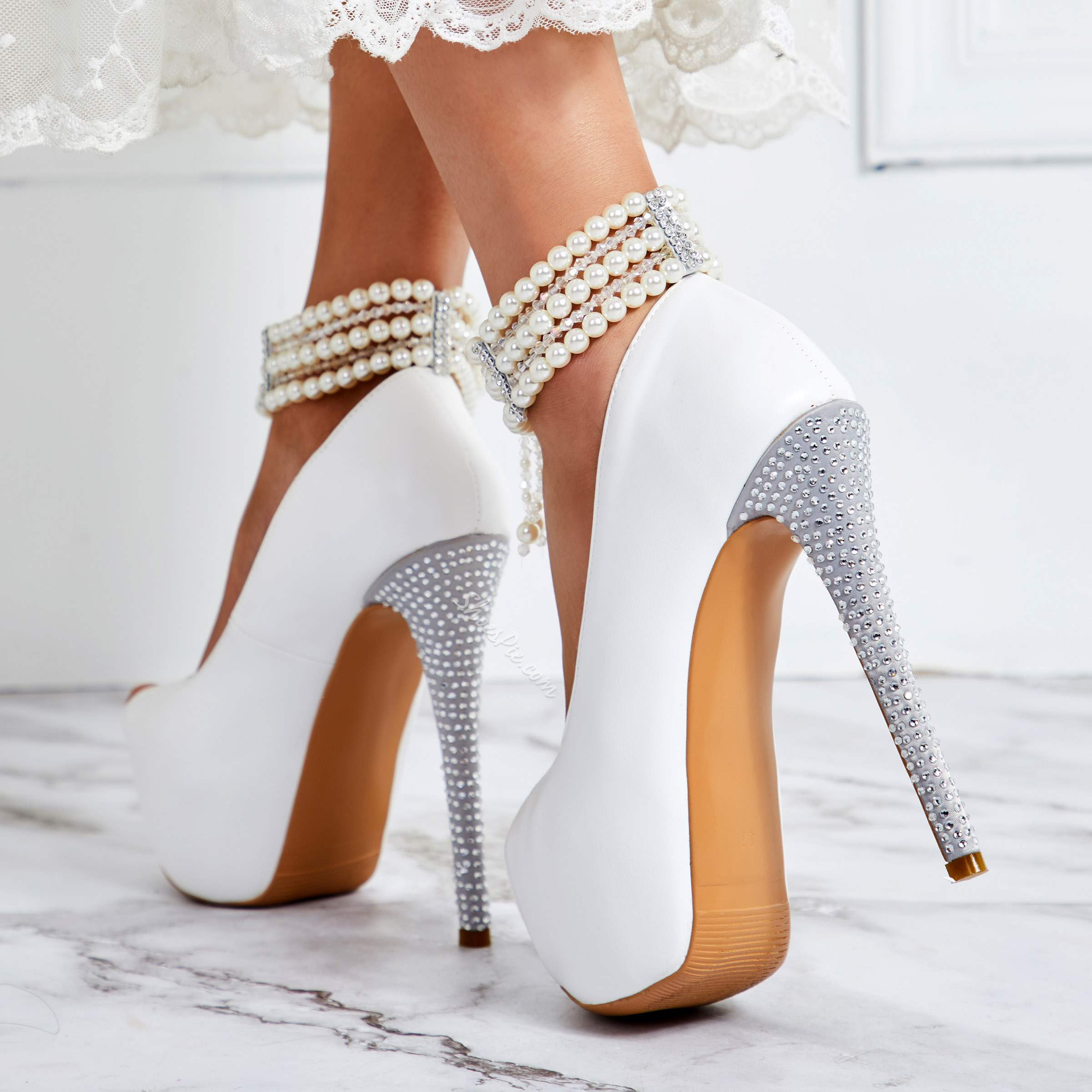 Shoespie White Pearl Ankle Strap High Stiletto Heels