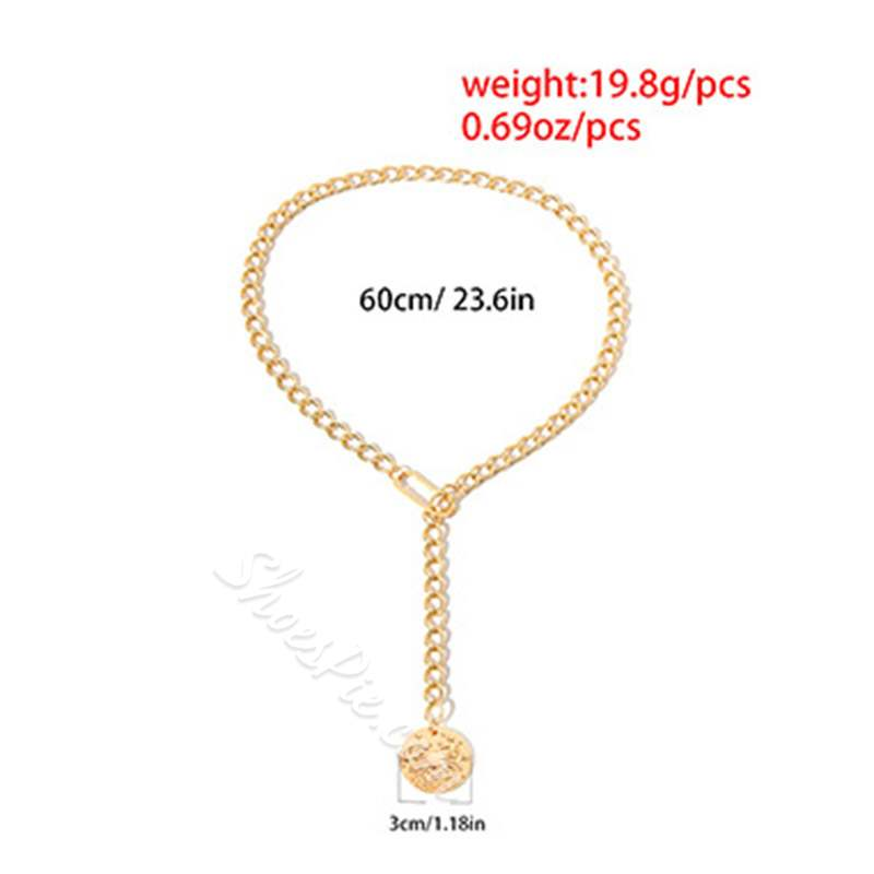 Y Type Golden Coin Adjustable Pendant Necklace