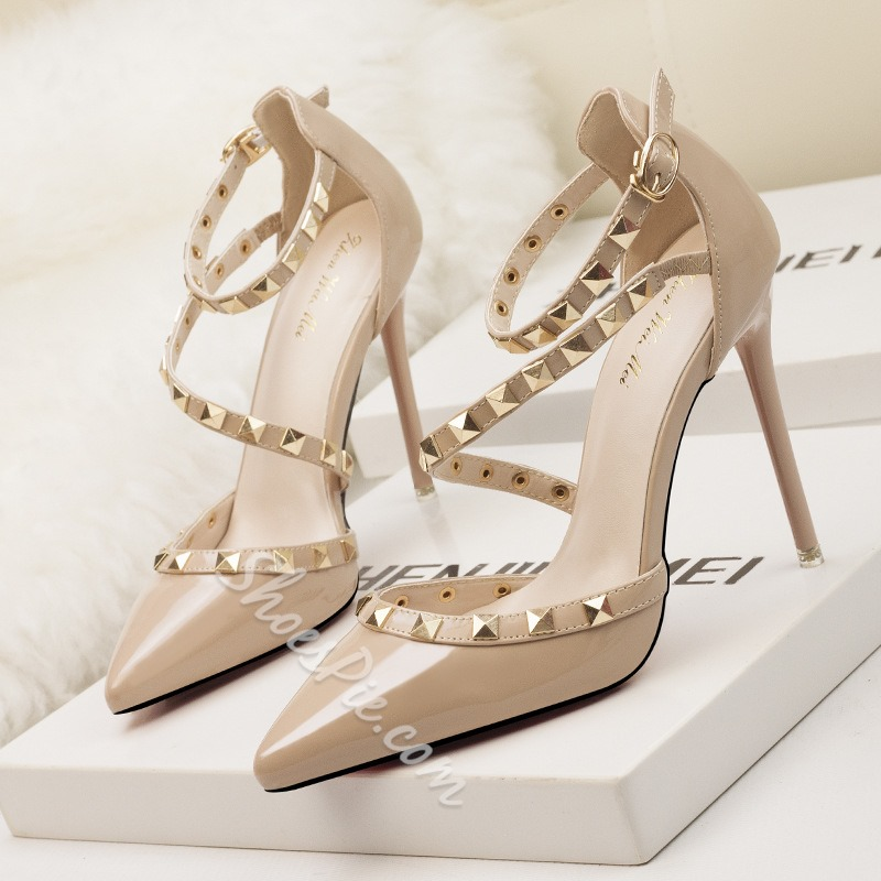 Shoespie Stylish Buckle Rivet Pointed Toe Stiletto Heels