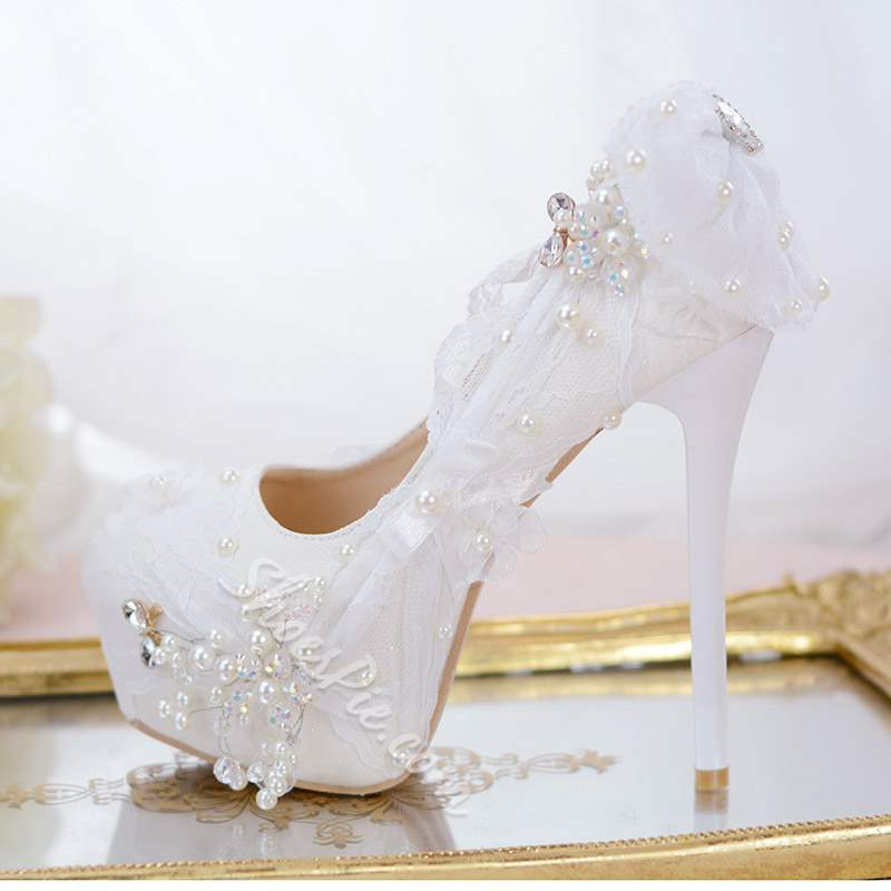 Platform Slip-On Round Toe Stiletto Heel Wedding Bridal Shoes