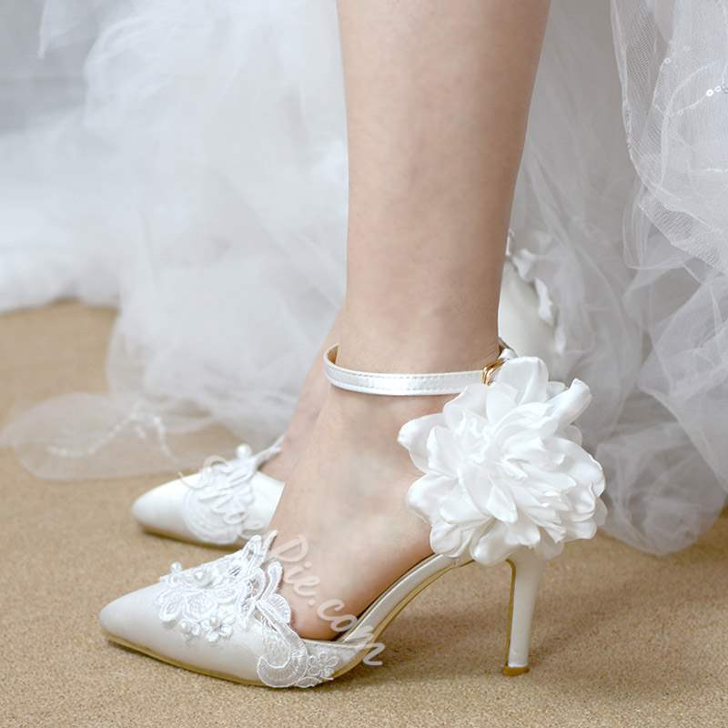 Pointed Toe Lace Stiletto Heel Ankle Strap Wedding Bridal Shoes