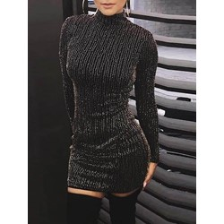 Long Sleeve Above Knee Sexy Pullover Women's Bodycon Dress