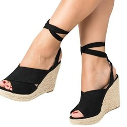 Shoespie Stylish Peep Toe Lace-Up Wedge Heel Sandals