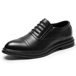 Shoespie Plain Low-Cut Lace Up PU Leather Men's Oxfords
