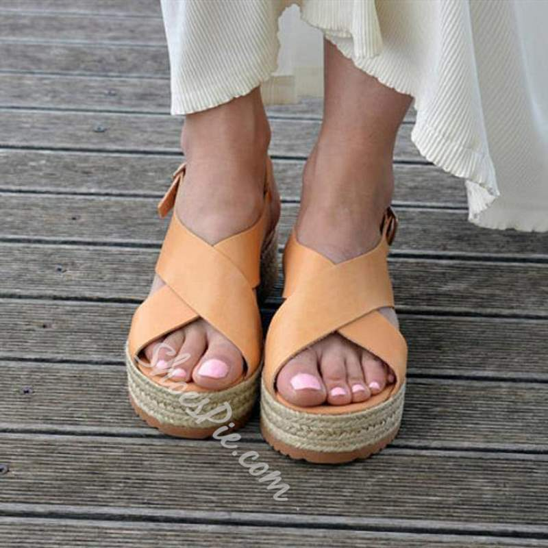 Shoespie Stylish Open Toe Flat With Buckle Platform Sandals