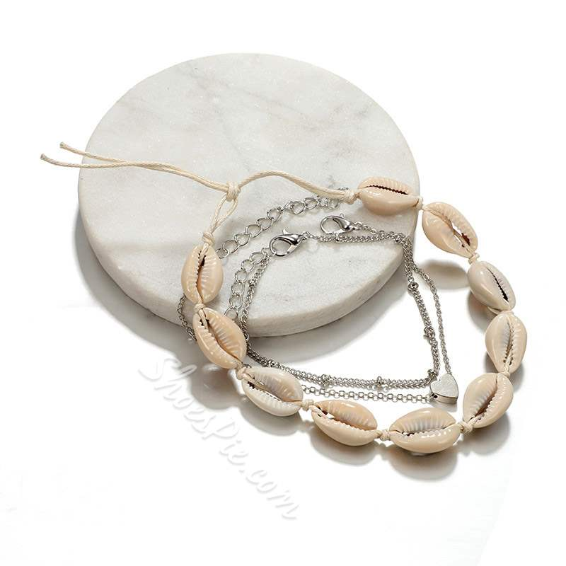 Plain Shell Shape E-Plating Beach Anklets