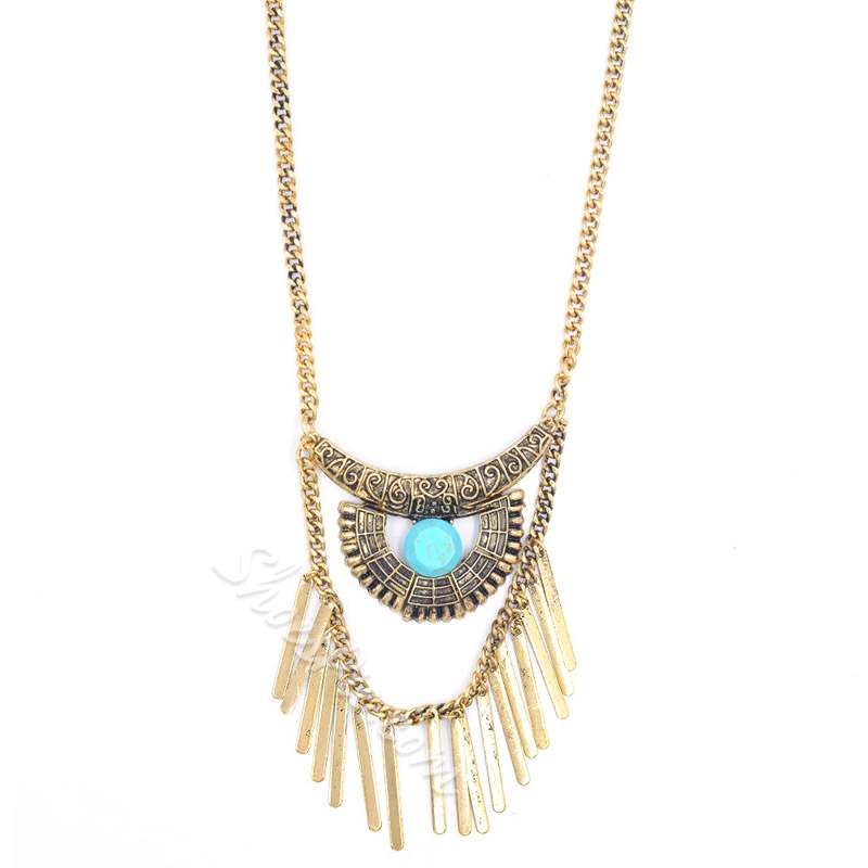 Tassel Shape Turquoise Decorated Ethnic Pendant Necklace