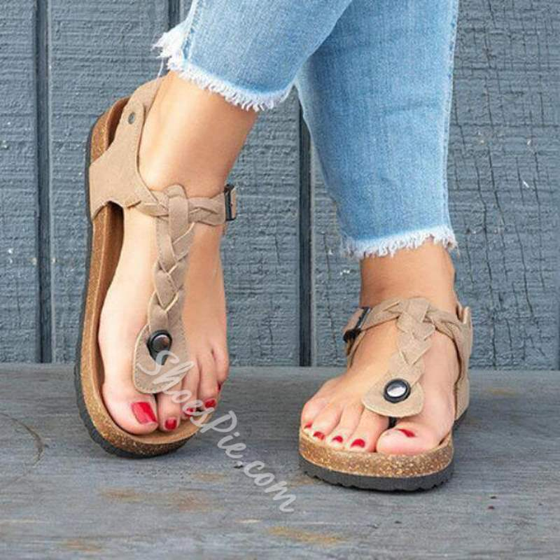 Shoespie Summer Casual Thong Flat With Buckle Sandals