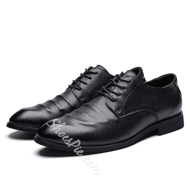 Shoespie Large Size Pointed Toe Leather Men's Oxford Shoes