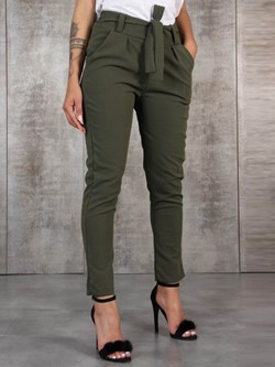 Plain Slim Lace-Up Mid-Waist Women's Casual Pants