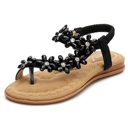 Shoespie Casual Elastic Band Toe Ring Flat Appliques Beach Sandals