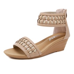 Shoespie Trendy Zipper Wedge Heel Heel Covering Sandals