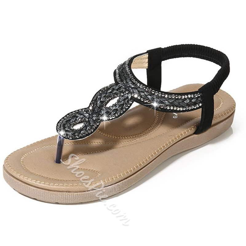 Shoespie Casual Thong Flat Elastic Band Low-Cut Beach Sandals