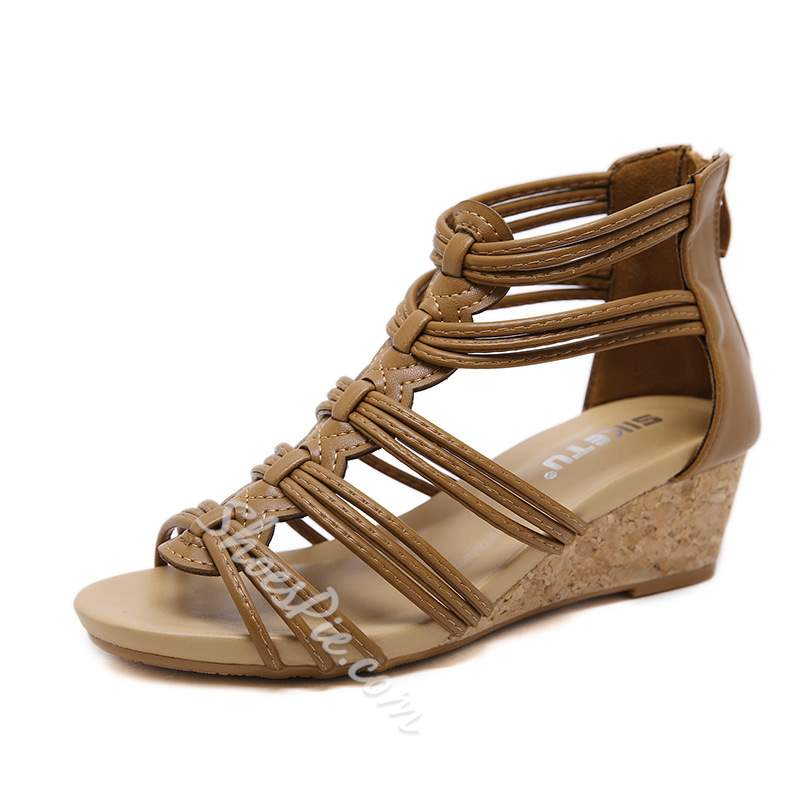 Summer Trendy Zipper Wedge Heel Open Toe Sandals