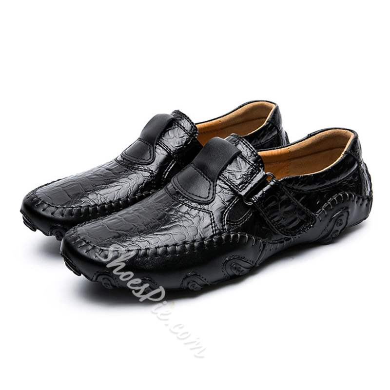 Shoespie Velcro Plain Low-Cut Upper Round Toe Men's Loafers